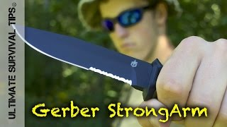 NEW! GERBER StrongArm Tactical SURVIVAL KNIFE REVIEW - Better than LMF 2 and PRODIGY?